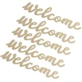 NUOBESTY 5PCS Welcome Wood Sign Cutout Unfinished Wooden Letter Sign Farmhouse Front Door Sign with 5pcs Ropes Decorative DIY Block Words Plaque for Easter Wreath Wall Art Decoration