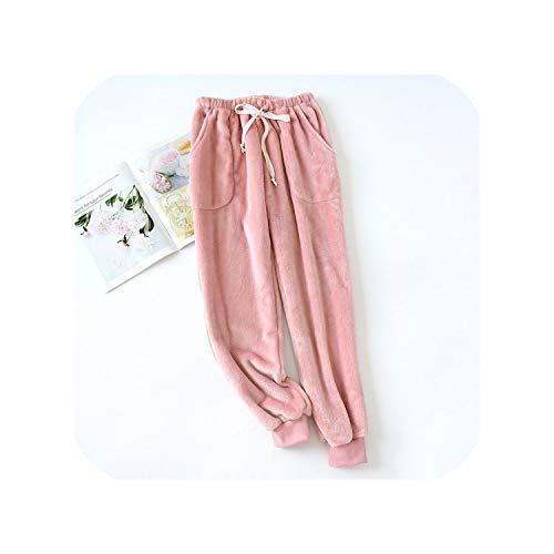 Winter-Pyjama-Set mit süßem Ananas, aus dickem Flanell, für Damen, modisch, Nachtwäsche, einfach, langärmelig, warm Gr. X-Large, Pantspink