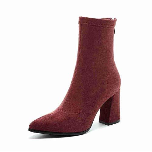 SHZSMHD damesschoenen Kid stretch laarzen voor vrouwen puntige schoen sokkenlaarzen Square High Heel laarzen Damesmode