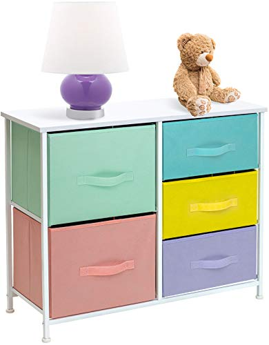 Sorbus Dresser with 5 Drawers Furniture Storage Tower Chest for Kid's, Teens, Bedroom, Nursery, Playroom, Closet, Clothes, Toy Organization-Steel Frame, Wood Top, Easy Pull Fabric Bins, Pastel/White