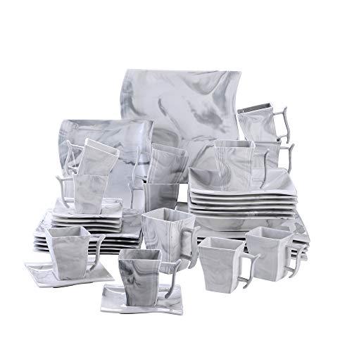 MALACASA, Serie Flora, 36 TLG. Marmor Porzellan Geschirrset Kombiservice Tafelservice mit je 6 Stück Kaffeetassen, Kaffeebecher, Untertassen, Dessertteller, Suppenteller und Flachteller