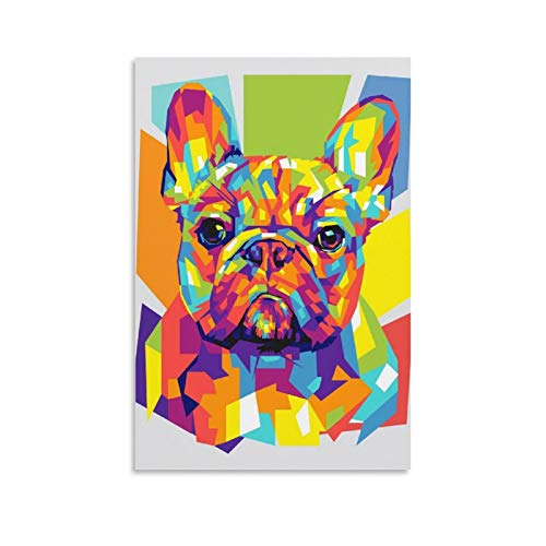 UYTT French Bulldog Pet Canvas Art Poster and Wall Art Picture Print Modern Family Bedroom Decor Posters 08x12inch(20x30cm)