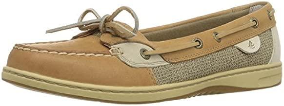 Sperry Womens Angelfish Boat Shoe, Linen/Oat, 9.5