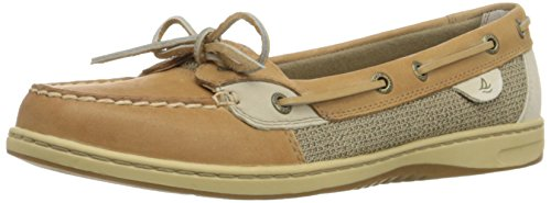Sperry Womens Angelfish Boat Shoe, Linen/Oat, 8 Narrow