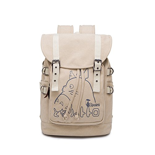 Double Villages Anime My Neighbor Totoro Cosplay Daypack Bookbag College Tasche Rucksack Schultasche (Khaki A)