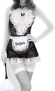 Fashion Comfortable Sleeveless Transparent Mesh Maid Costume Lingerie Dress For Women(a063)