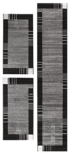 Andiamo 725561 Bettumrandung Web-Teppich Grasse, 100% Polypropylen, grau, 340.0 x 67.0 x 0.7 cm