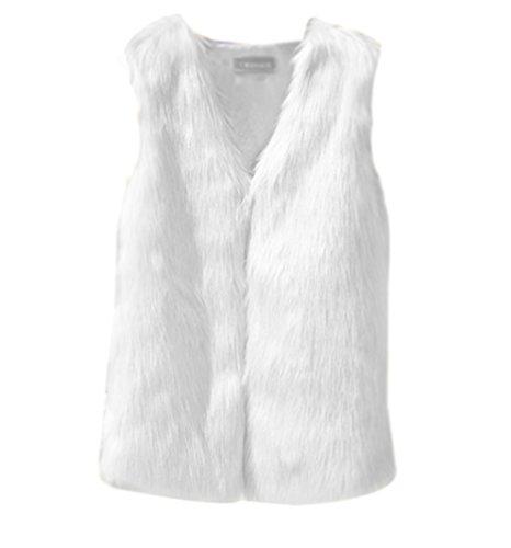 LaoZan Damen Winter Faux Pelz Ärmellose Weste Gilet Fellweste Kunstfell Winterjacke Jacke Gilet Cardigan Outerwear M Weiß
