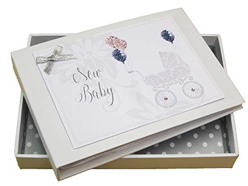 White Cotton Cards 'New Baby' Mini Photo Album, Silver Pram (DTS1T)