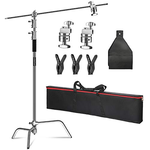 LOMTAP Photo Studio Heavy C Stand 10.8ft/330cm Support Metal Adjustable Century Stand with 4.1ft/125cm Holding Boom Arm for Photography Studio Video Reflector, Umbrella, Softbox and Monolight