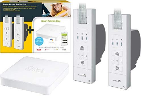 Schellenberg Smart Friends Box Gateway inklusive 2x Funk-Gurtwickler ROLLODRIVE 65 Premium 22767 | Starterset Rolladen nachrüsten Funkantrieb Smart Home