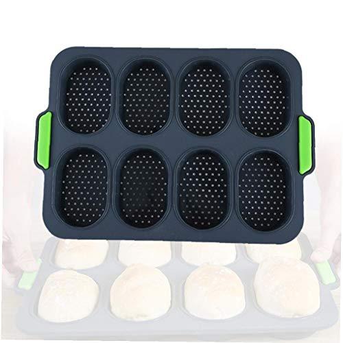 Hornada del pan de molde de silicona Mini Bandeja de horno Baguette, antiadherente perforado molde para pan de molde de la hornada del Baguette sartenes de cocina para hornear Herramientas Gris