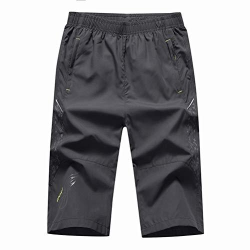Feidaeu Männer Sport Cropped Hosen Elastische Taille Dünne elastische Outdoor Schnelltrocknende Hosen Laufen Fitness Casual Shorts