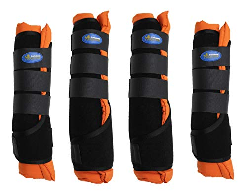 Professional Equine Horse Stable Shipping Boots Wraps Front Rear 4 Pack Leg Hoof Care Orange 4120OR