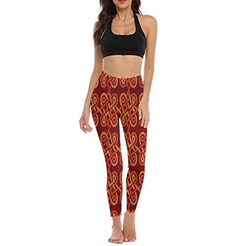 prunushome Celtic Yoga Pants, Old Pattern Celtic Knot Sports Leggings