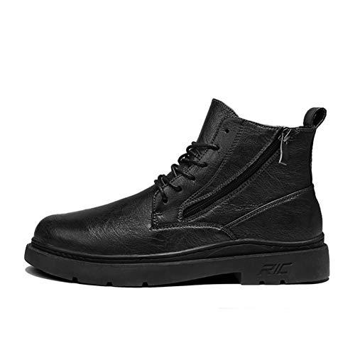 Datouya Men's Oxford Boots Round Toe Mid-Cut Lace Stitching Thick Rubber Outdoor Casual Shoes Provide The Best Comfort for Your All-Weather Life (Color : Black, Size : 39 EU)