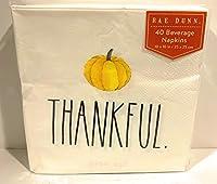 Rae Dunn THANKFUL 感謝祭 パンプキンナプキン Sサイズ 10 x 10インチ ナプキン40枚