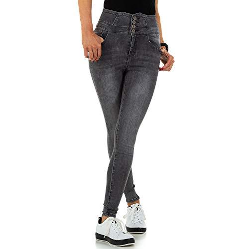 Ital-Design Damen HIGH Waist Skinny Jeans Daysie Jeans Gr. 40 Grau