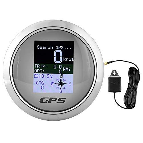 Velocímetro, cuentakilómetros GPS digital de 85 mm, indicadores de velocidad digitales impermeables IP67 de acero inoxidable para ingeniero de barcos de automóviles (Placa frontal blanca)