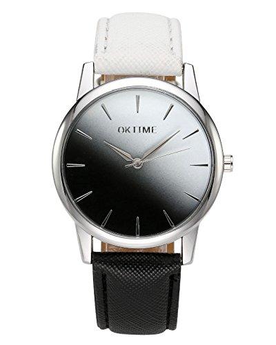 JSDDE Damen Fashion Cute Candy Farbe Armbanduhr Weiß-Schwarz Farbverlauf PU Lederband Analog Quarz