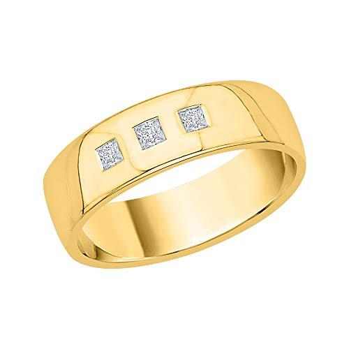 KATARINA Alianza de boda para hombre con diamantes de talla princesa en oro de 14 quilates (1/6 cttw, J-K, SI2-I1)