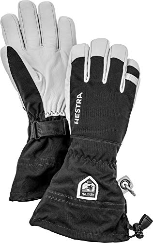 Hestra Army Leather Heli Ski Glove - Classic 5-Finger Snow Glove for Skiing and Mountaineering - Black - 9
