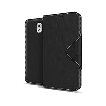 Black Samsung Galaxy Note 3 Wallet Case  Best Design with Coolest Premium [PU/Faux Leather] with Stand Feature and Magnetic Flap Closure  Slim Wallet Case Cover for Galaxy Note 3