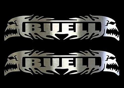 myrockshirt Motorradaufkleber 2X Buell Totenkopf Logo ca.30cm Aufkleber Sticker Decal Profi-Qualität ohne Hintergrund Bike Tuning