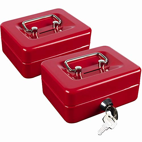 """KYODOLED Mini Cash Box with Slot, Portable Metal Money Box with Key Lock,Security Lock Box with Double Layer,Small Safe for Kids 4.9""""x 3.7""""x 2.3"""",2 Pieces Red"""