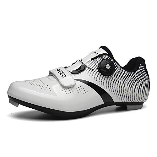 DWZRG Road Cycling Shoes Mens Womens MTB Spin Cycling Shoes Quick lace Compatible with SPD Delta Cleats Self-Locking (White, 10.5 M US Women/9 M US Men)