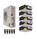 Ductless Mini Split Air Conditioner with Heat Pump YMGI Five Zone 5 Zone 60000 BTU 5 x 12000 5 Tons Ceiling Cassette for Home, Office, Apartment w
