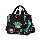 OREZI Insulated Lunch Tote Bag for Adult Men Women,UFO Aliens Spaceship Planet Kid's School Lunchbox with Detachable Shoulder Strap for School Office Fishing