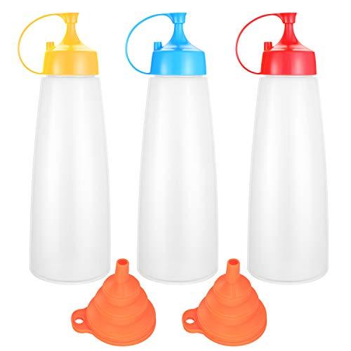 3 Stück Quetschflaschen mit Schraubdeckel, 500 Ml Ahornsirup Dosierer Ketchup Spender, Kunststoff Quetschflasche für Mayo, heiße Soße, Senf, Olivenöl, mit Trichter
