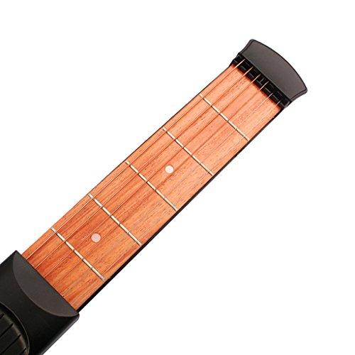 Accesorios Musicales Guitarra de Bolsillo 6 Trastes Práctica para Principiantes Negro