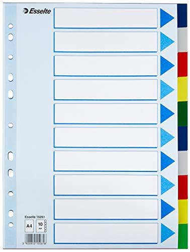 Esselte Register für A4, Deckblatt und 10 Trennblätter mit Taben, Mehrfarbig, Robuster Kunststoff, 15261