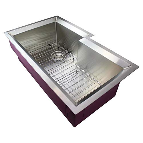 UKN Stainless Steel 35-in Undermount Kitchen Sink 20.5' X 34.5' 11' Grey Rectangle Finish Sound Dampening
