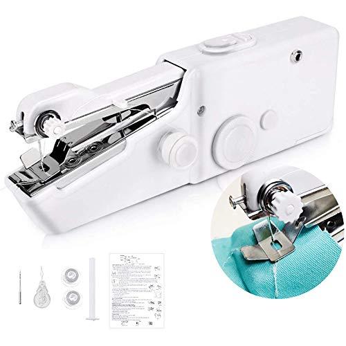 Mini máquina de coser para principiantes portátil con grapadora inalámbrica juego de máquina de coser de mano portátil de puntada eléctrica herramienta doméstica para ropa de tela niños blanco