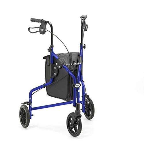 Days 240L Lightweight Aluminium Folding 3 Wheel Tri Walker with Locakble Brakes and Carry Bag - Blue (Eligible for VAT relief in the UK)