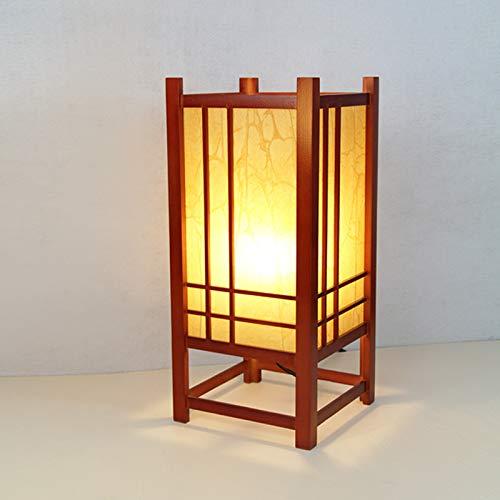 YU-K Japanse stijl massief hout decoratieve tafellamp LED Tatami Hotel bedlamp, 19 * 19 * 43 cm, knop licht, wit mahonie licht