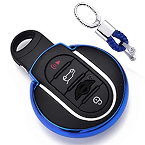 Blau Car Keyless Entry Key Cover Fall für BMW Mini Cooper F54 F55 F56 F57 F60 3/4-Buttons Smart Key, weiches TPU Schutzhülle mit Schlüssel Kette