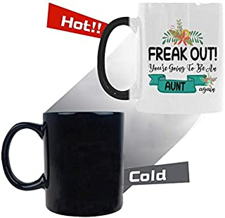 Funny Color Changing Mug, Heat Activated Color Changing Ceramic Coffee Mug, FREAK OUT! You're Going To Be An Aunt AGAIN Coffee Cup, Novelty Mug, 11 Ounce
