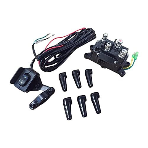 Autmotive Authority 12V Solenoid Relay Contactor & Winch Rocker Thumb Switch Combo for ATV UTV