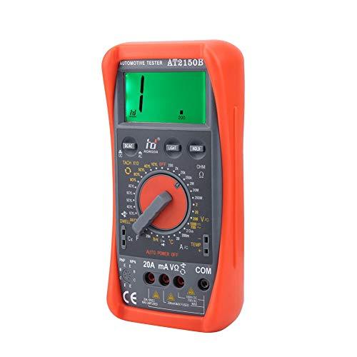 Multímetro digital, medidor de tacómetro, multímetros de resistencia, automotriz AT2150B portátil AC/DC naranja para automóvil para camión