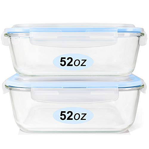 Glass Food Storage Containers Set Large Size Glass Containers with Lids BPAfree Locking lids 100% Leak Proof Glass Meal Prep Containers Freezer to Oven Safe 2 Pack of 52oz