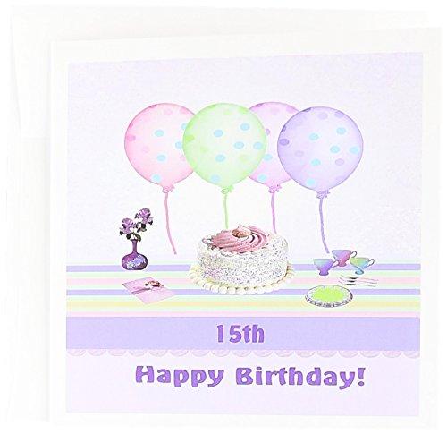 3dRose gc_113212_2 Grußkarten, Luftballons Vase mit Blumen, 15,2 x 15,2 cm, zum 15. Zuckerguss