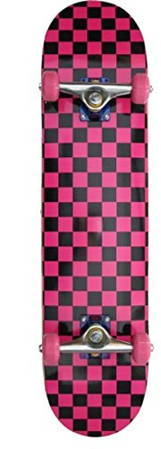 Checkered Skateboard Komplettboard Pink/Black - Wheels Pink, Deckgrösse:8.0 inch