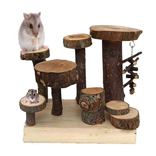 kathson Hamster Climbing Activity Platform Wooden Gerbil Playground Natural Apple Chew Toysfor Small Rodents Sugar Glider Chinchilla Guinea-Pigs