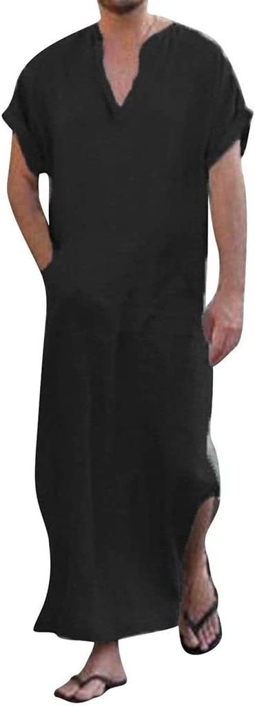 ZAYZ Mens Comfy Big Tall V Neck Short Sleeve, Cotton Nightgowns Long Robes Loungewear, Perfect Tor Both Indoor Outdoor (Color : Black, Size : Small)