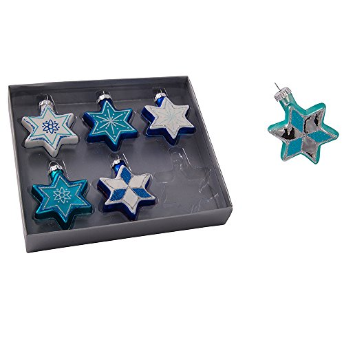 Kurt S. Adler H8203 Kurt Adler Glass Star of David with Glitter Ornament, Set of 6