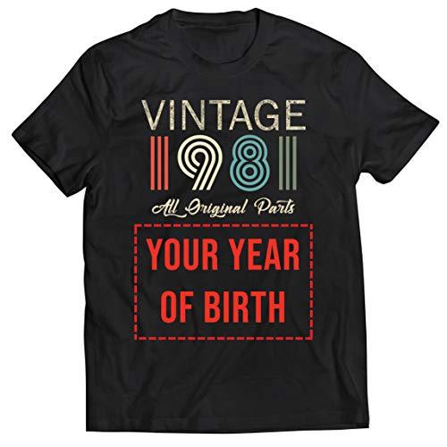 lepni.me Camisetas Hombre Personalizado con Cualquier Año Regalo Vintage Todas Las Piezas Originales (XX-Large Negro Multicolor)